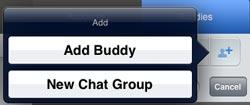 Adicionar amigos ou abrir chat em grupo