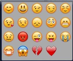 Emoticons disponíveis