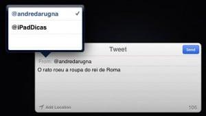 Escolher a conta para publicar um tuíte no iOS