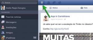 Barra de Menu do Facebook para iPad