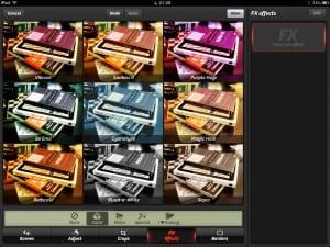 Tela de efeitos do Camera+ para iPad
