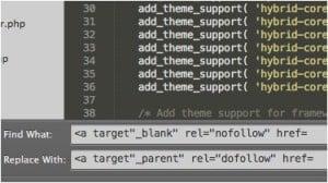 Busca e substituição de código