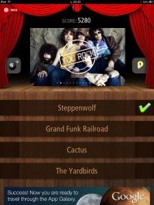 Tela de gameplay do Quiz Rock para iPad