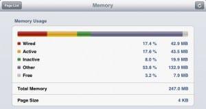 Informação sobre a memória do iPad