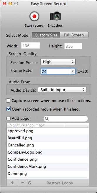 Painel de configurações do Easy Screen Record para Mac