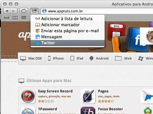 truques do Mac OSX partilhar no twitter
