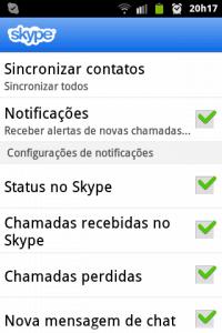 skype configurações
