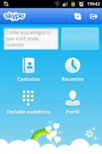 skype tela inicial