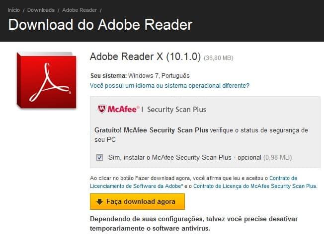 tela de download do Adobe Reader