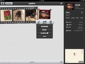 Tela Lightbox do Camera+ para iPad