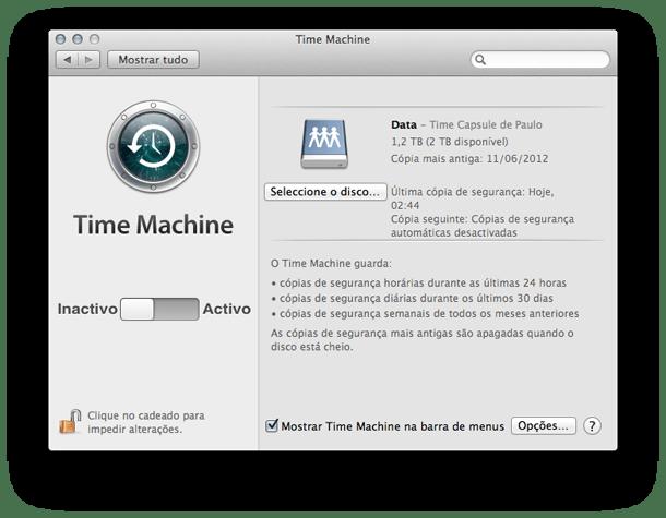 truques do Mac OSX time machine