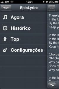 EpicLyrics - menu de opções