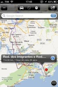 Maps+ com duas opções de rota