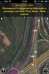 Maps+ mostrando instruções