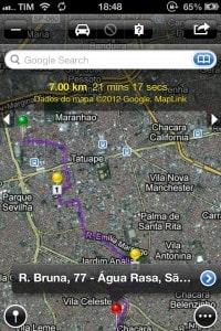 Maps+ mostrando rota com vários pontos