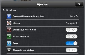 Ajustes do aplicativo Wireless Drive