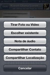Compartilhar fotos e vídeos, também localização e contatos no WhatsApp.