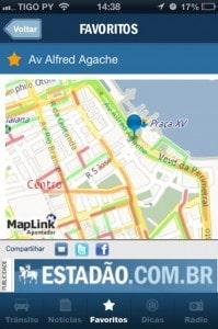 Rodovias favoritas no App Trânsito para iPhone