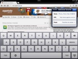 Adicionando aos Favoritos no Chrome do iOS.