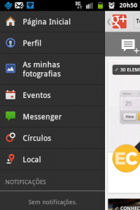 google + menu lateral