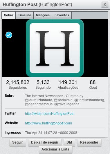 Hootsuite - informações de um usuário
