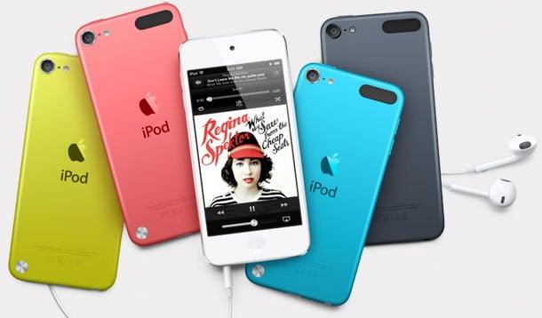 iPod touch de quinta geração em várias cores.