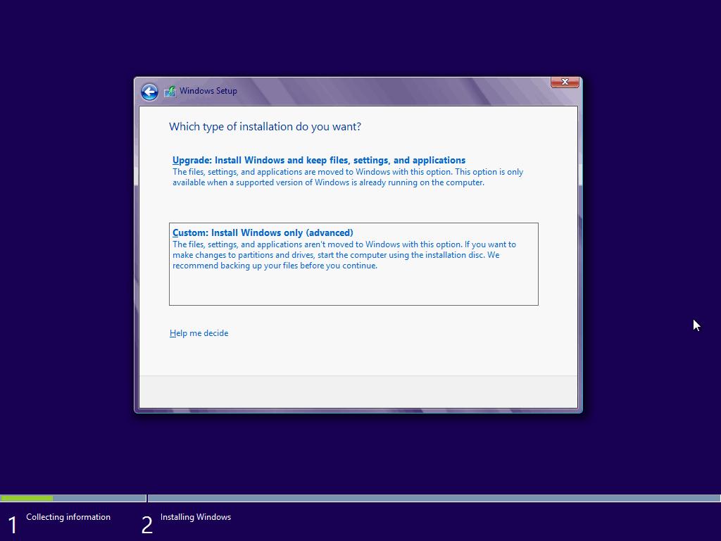 a opção custom permite uma instalação nova