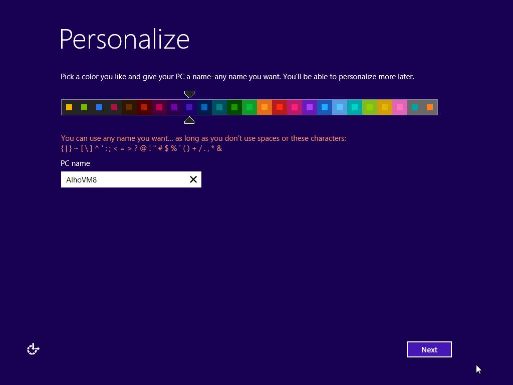 Windows 8 no Virtual Box Personalize a instalação