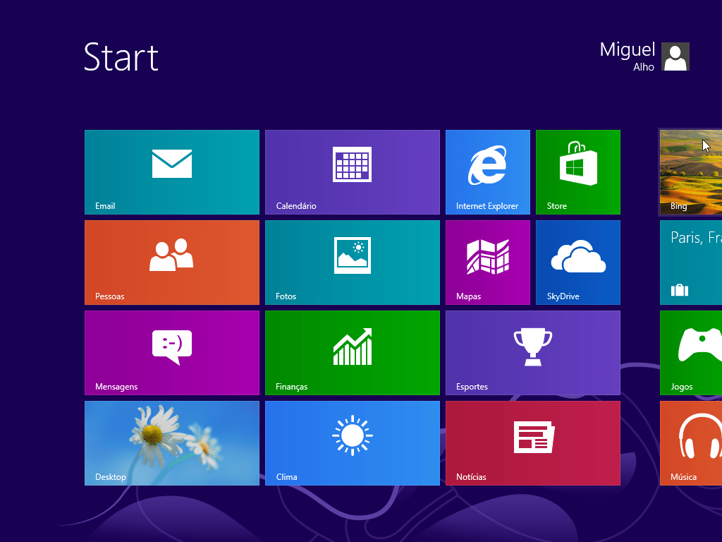 Windows 8 no Virtual Box start screen