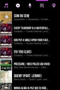 Lista de músicas do CarTunes.