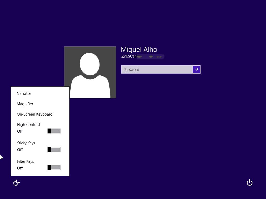 Iniciação ao Windows 8 Menu de acessibilidade