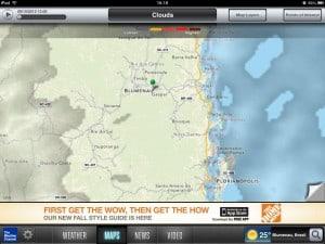Mapa de nuvens no The Weather Channel para iPad