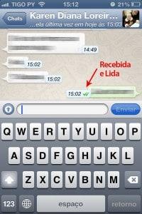 Mensagem dentro do WhatsApp do iPhone
