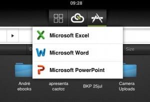 Aplicativos Word, Excel, Power Point no iPad