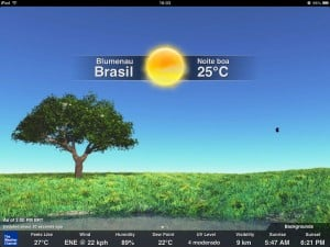 Modo paisagem do The Weather Channel para iPad