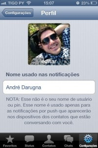 Perfil no WhatsApp do iPhone