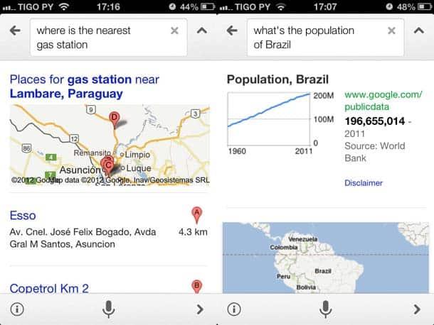 Pesquisa em inglês realizada no Pesquisa Google do iPhone.