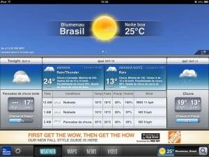 Informação do dia seguinte no The Weather Channel para iPad