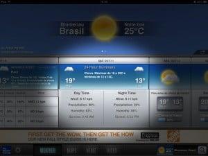 Previsão dos próximos dias no The Weather Channel para iPad