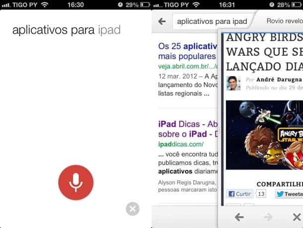 Resultado em português da busca por voz