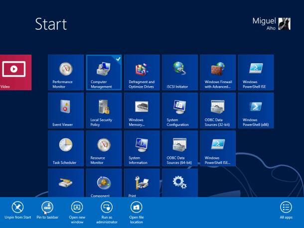 Desktop no PC opções de aplicativos