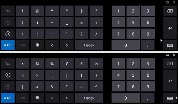 teclado touch símbolos e números
