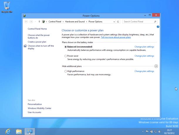 definições energéticas no Windows 8