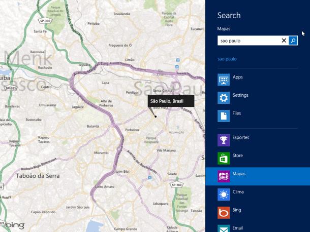 pesquisa contextualizada ao aplicativo de mapas do Windows 8