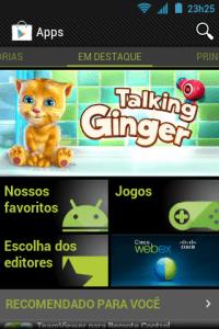 Tela inicial Play Store