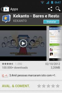 Informações sobre o aplicativo Kekanto