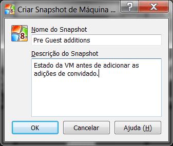 tela de criação de snapshot no virtual box