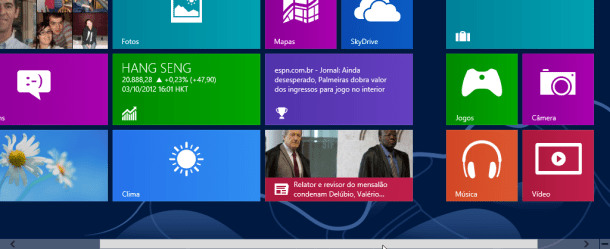 scroll no fundo da tela permite deslocar o start screen