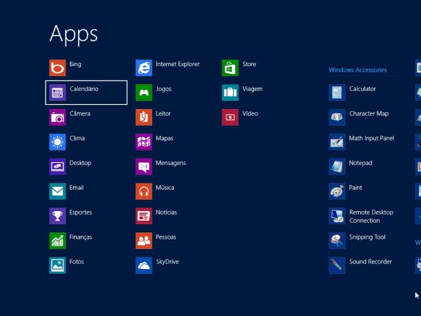lista de aplicativos do Windows 8