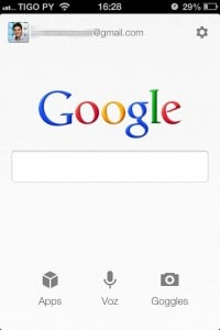 Tela inicial do Pesquisa Google do iPhone